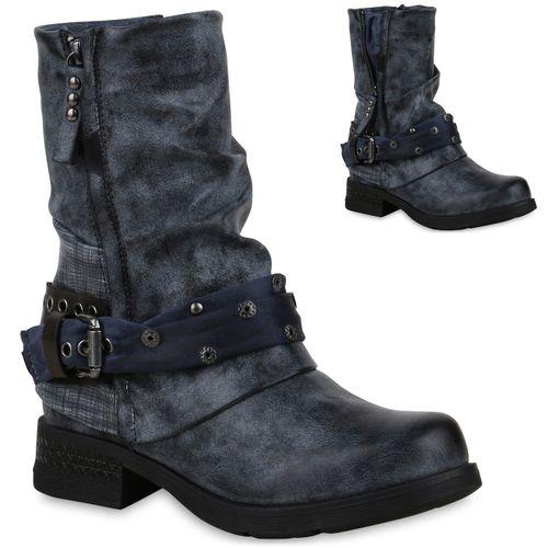 Damen Stiefeletten Biker Boots - Dunkelblau