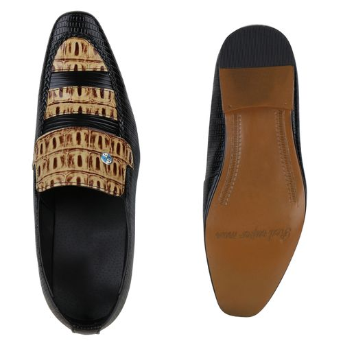 Herren Business Klassische Slippers - Schwarz Creme Muster
