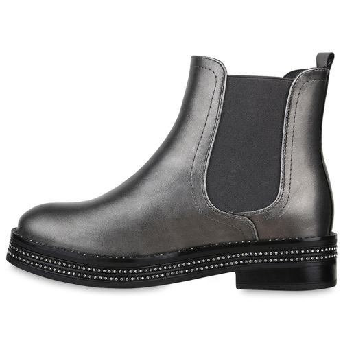 Grau Boots Stiefeletten Damen Chelsea Metallic qSRRT1