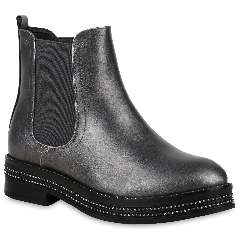 Stiefel - Damen Stiefeletten Chelsea Boots Grau Metallic › stiefelparadies.de  - Onlineshop Stiefelparadies