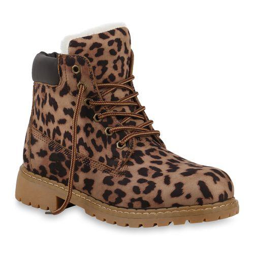 Damen Damen Boots Stiefeletten Worker Stiefeletten Worker Leopard 0gBp4Ewn