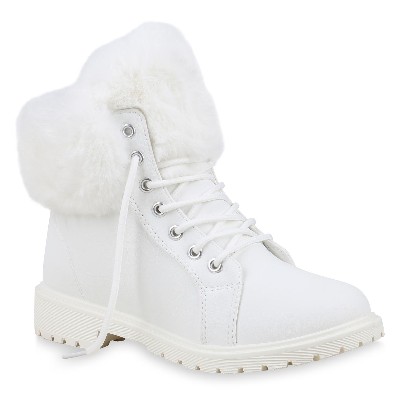 Damen Stiefeletten Worker Boots - Weiß