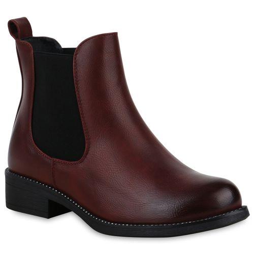 Damen Stiefeletten Chelsea Boots - Dunkelrot