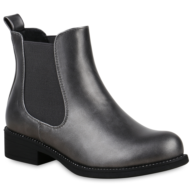 Stiefel für Frauen - Damen Stiefeletten Chelsea Boots Grau › stiefelpardies.de  - Onlineshop Stiefelparadies