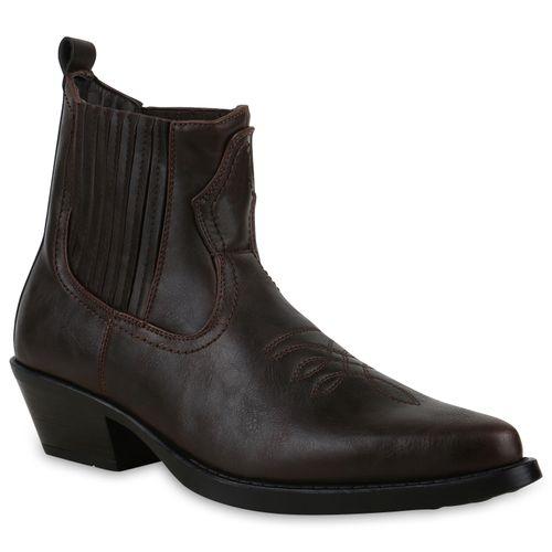 Herren Cowboy Boots - Dunkelbraun