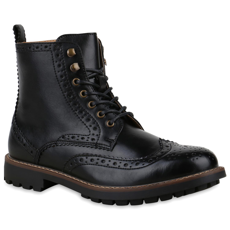 Herren Boots Schnürboots - Schwarz