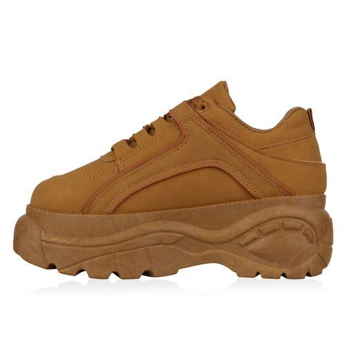 Damen Plateau Sneaker - Hellbraun