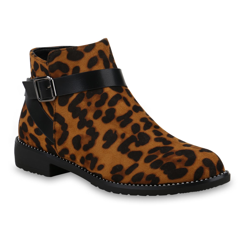 Details zu Damen Stiefeletten Ankle Boots Gefütterte Leo Print Booties 825521 Schuhe