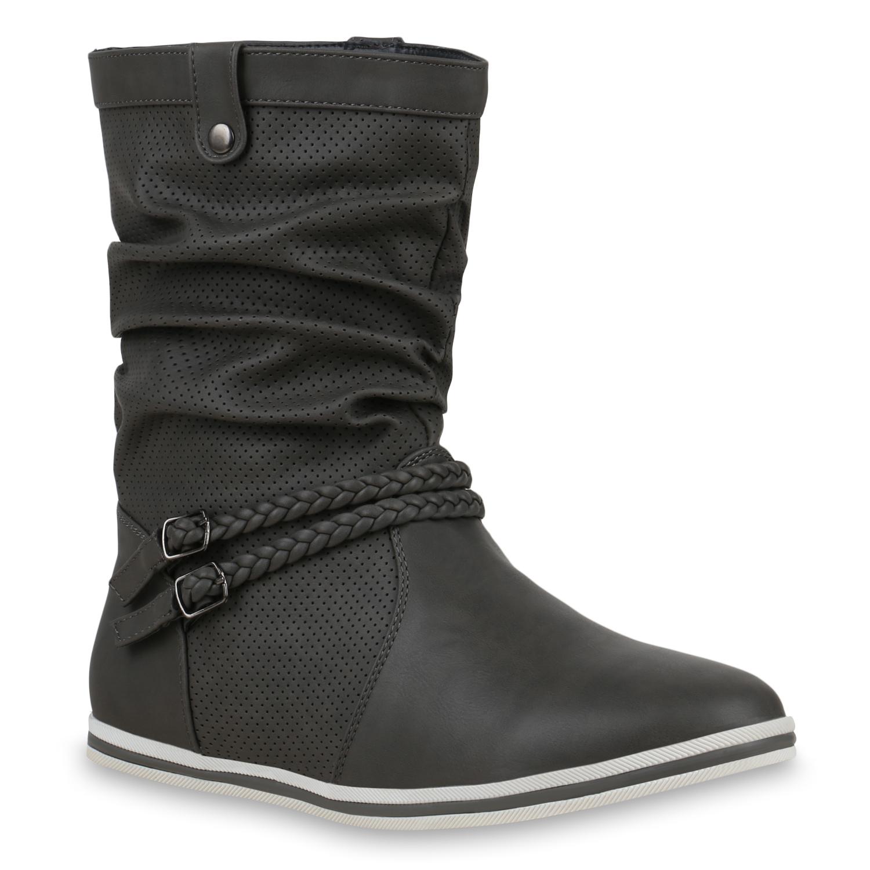 Stiefel - Damen Stiefel Schlupfstiefel Grau › stiefelparadies.de  - Onlineshop Stiefelparadies