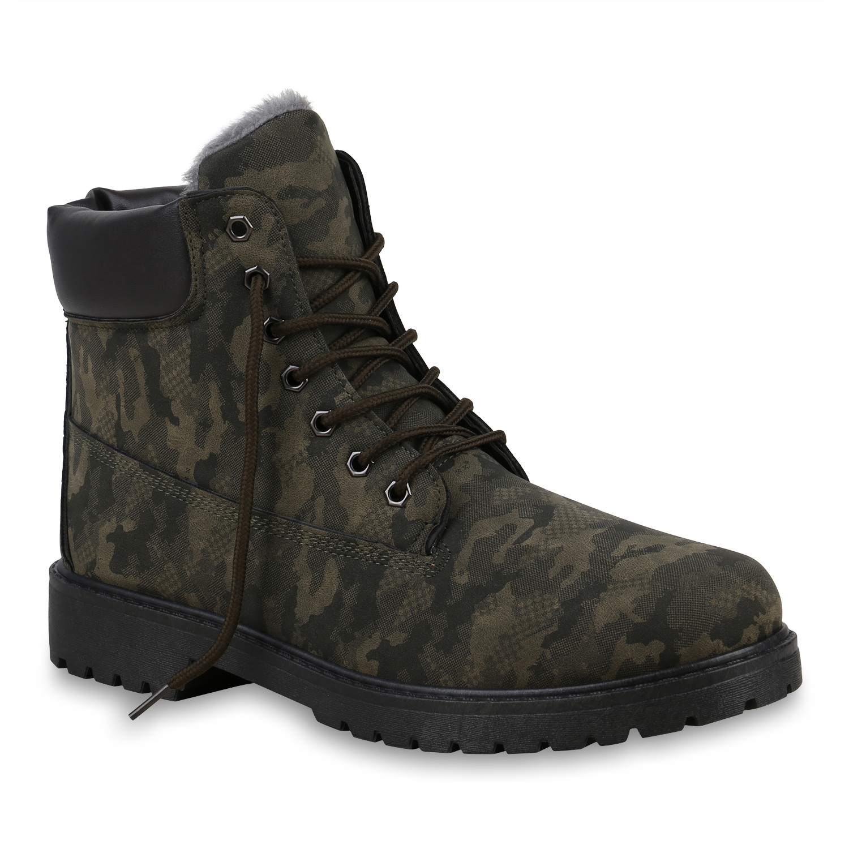 Herren Worker Boots - Dunkelgrün Camouflage