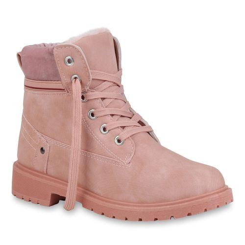 gut aussehen Schuhe verkaufen großhandel online auf Lager Damen Stiefeletten Worker Boots - Rosa