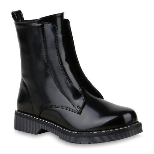 Schwarz Damen Stiefeletten Damen Stiefeletten Worker Worker Boots gYqw1wUT