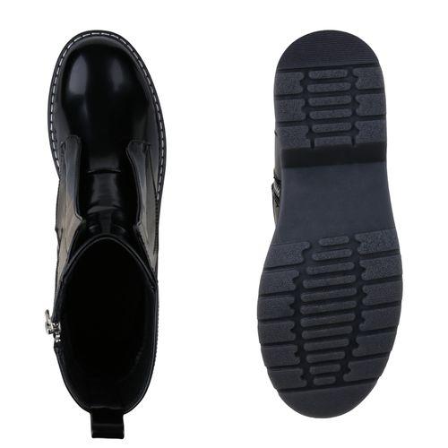 Damen Boots Stiefeletten Schwarz Damen Worker Worker Stiefeletten Boots Hfwd6qg