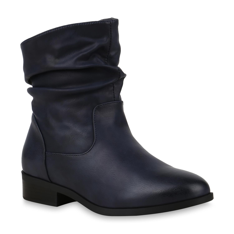 Stiefel - Damen Stiefeletten Schlupfstiefeletten Dunkelblau › stiefelparadies.de  - Onlineshop Stiefelparadies