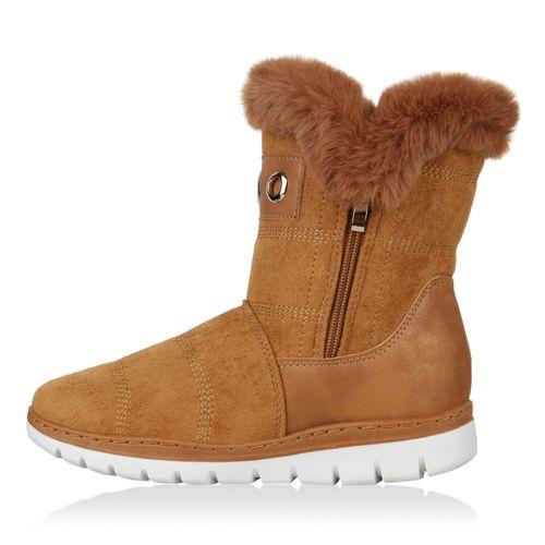 Damen Stiefeletten Winter Boots - Hellbraun