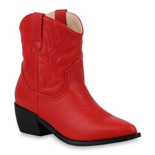 Boots Cowboy Cowboy Stiefeletten Stiefeletten Damen Rot Damen Rot Boots 0UCqS