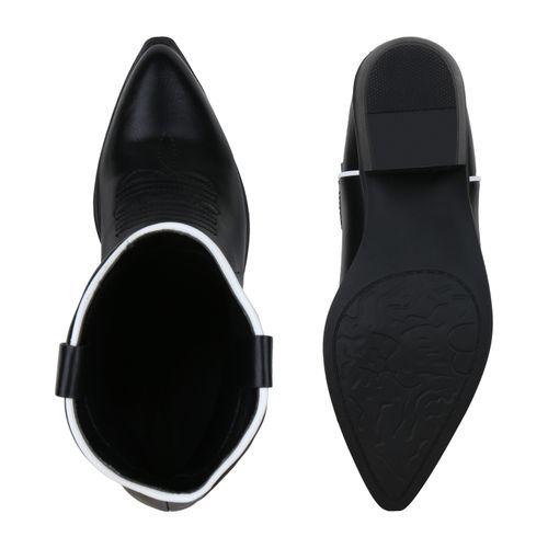 Damen Stiefeletten Cowboy Boots - Weiß Schwarz