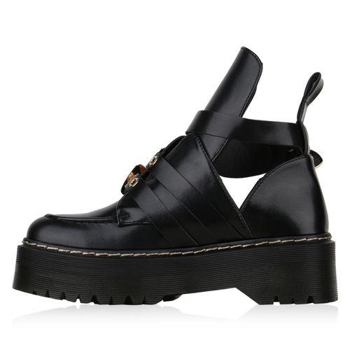 Damen Stiefeletten Plateau Boots - Schwarz Gold