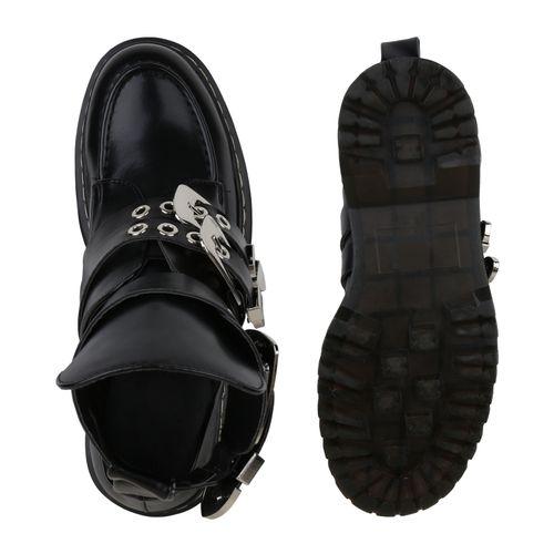 Damen Stiefeletten Plateau Boots - Schwarz Silber