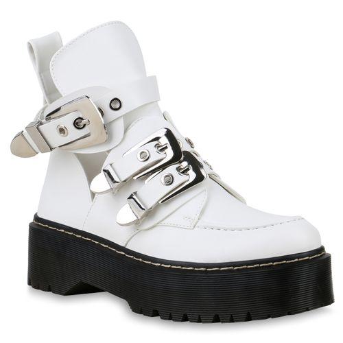 Damen Plateau Damen Boots Boots Stiefeletten Stiefeletten Plateau Weiß Weiß TJulc31FK