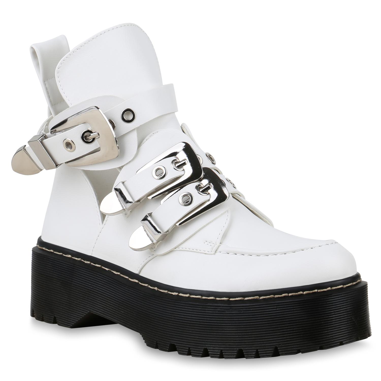 Damen Stiefeletten Plateau Boots - Weiß