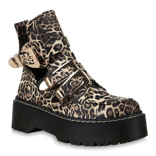 Damen Stiefeletten Plateau Damen Leopard Damen Boots Leopard Plateau Boots Plateau Stiefeletten Stiefeletten ffaqdwxr