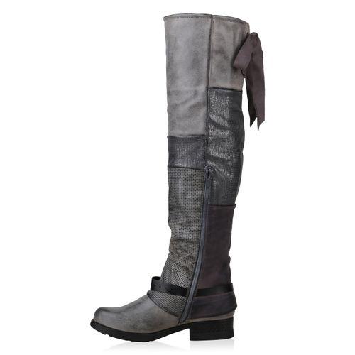 Stiefel Damen Grau Damen Overknees Overknees Grau Stiefel 4S5Bqwwx