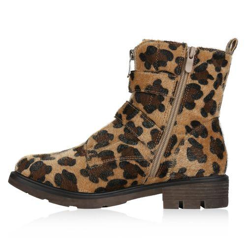 Damen Stiefeletten Biker Boots - Leopard