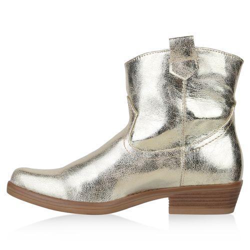 Damen Stiefeletten Cowboy Boots - Gold