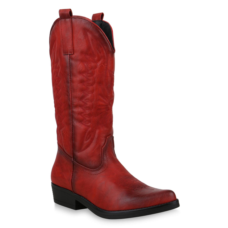 Damen Stiefel Cowboystiefel - Rot