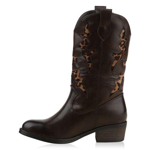 Damen Stiefel Cowboystiefel - Braun