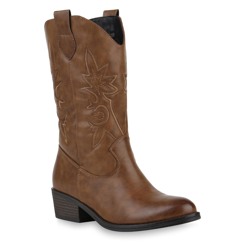Damen Stiefel Cowboystiefel - Hellbraun