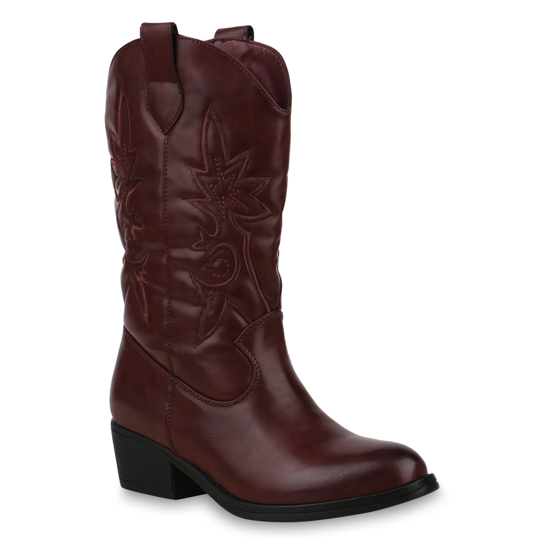 Damen Stiefel Cowboystiefel - Dunkelrot