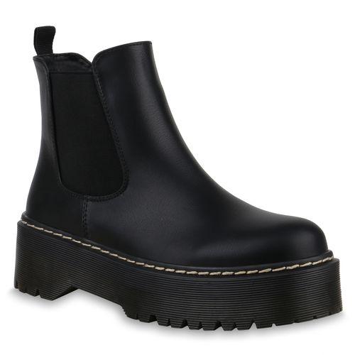 Damen Schwarz Stiefeletten Plateau Plateau Boots Stiefeletten Damen Boots vqvw7rf