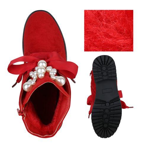 Billig Damen Schuhe Damen Stiefeletten in Rot 825688523