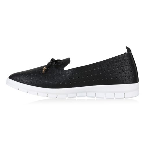 Loafers Schwarz Slippers Damen Damen Slippers vw08qIt