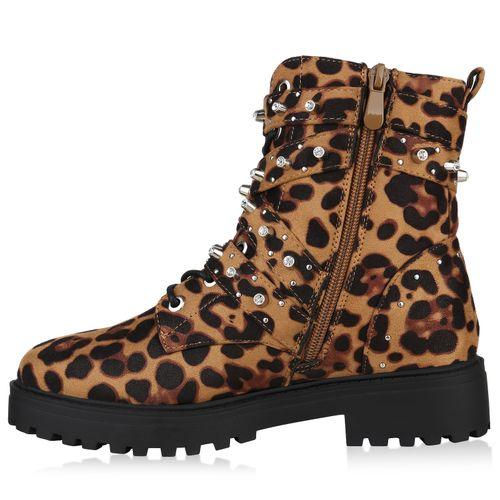 Leopard Damen Stiefeletten Stiefeletten Plateau Boots Boots Plateau Damen 10wcZ4BWxq