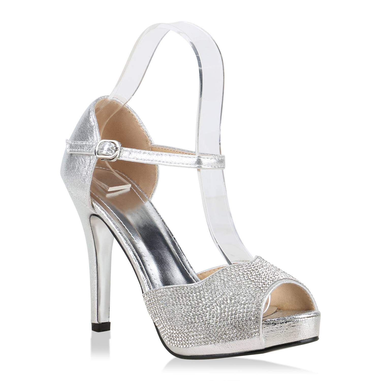 Damen Plateau Sandaletten - Silber