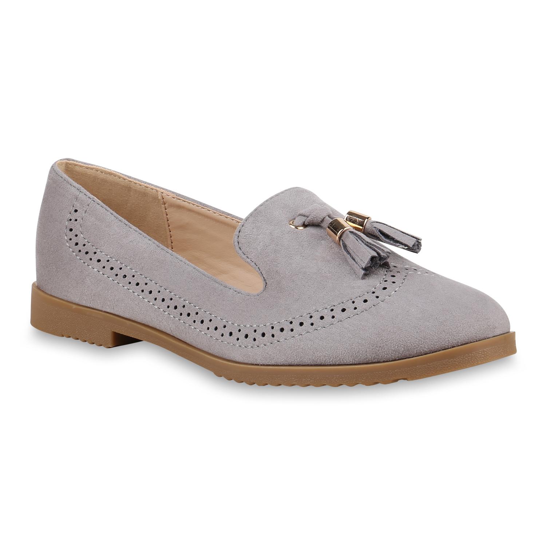 Slipper - Damen Slippers Loafers Grau › stiefelparadies.de  - Onlineshop Stiefelparadies