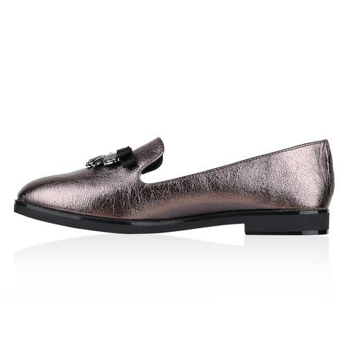 Loafers Grau Metallic Damen Damen Slippers Slippers v7xPPqZ