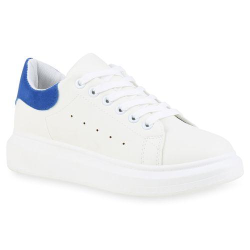 Damen Plateau Sneaker - Weiß Blau
