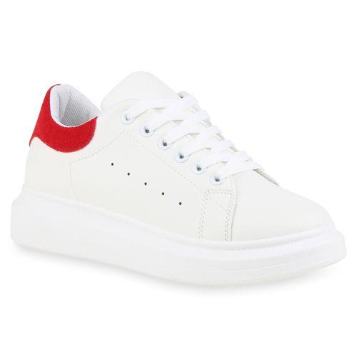 Damen Plateau Sneaker Weiß Rot