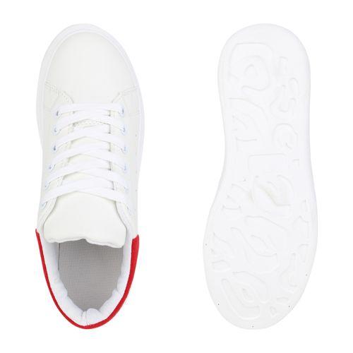 Damen Plateau Sneaker - Weiß Rot