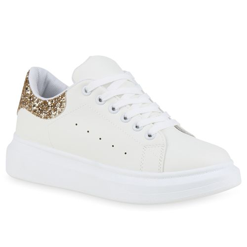 Damen Plateau Sneaker - Weiß Gold