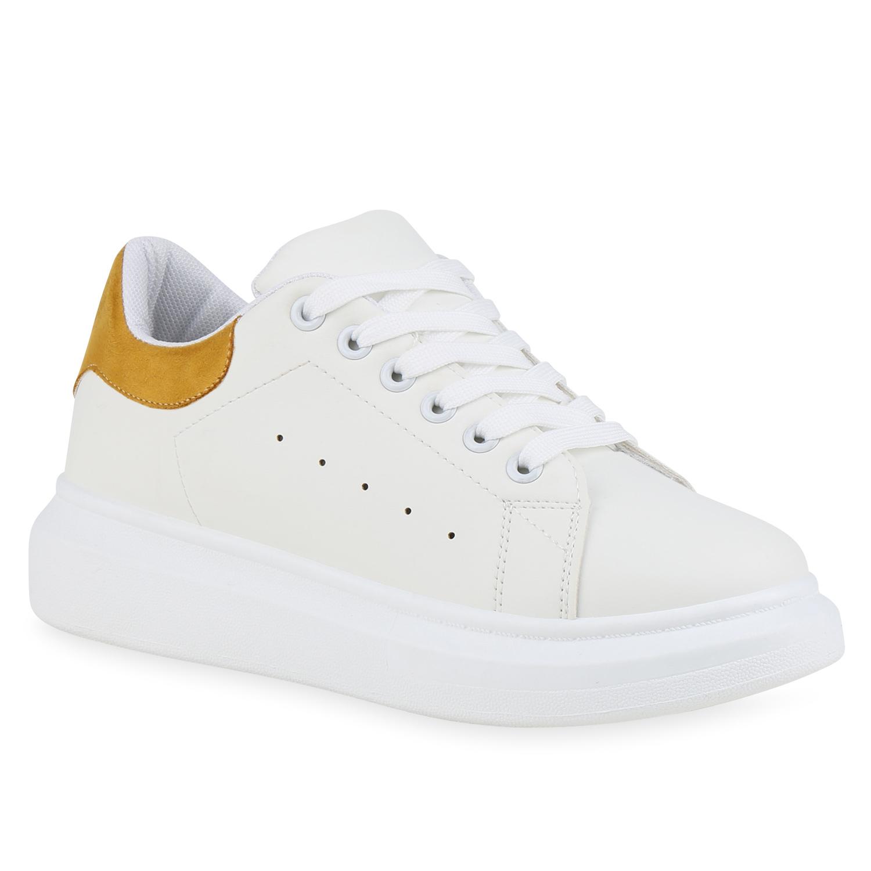 Damen Plateau Sneaker - Weiß Gelb