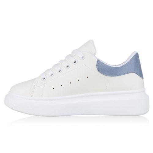Damen Plateau Sneaker - Weiß Hellblau