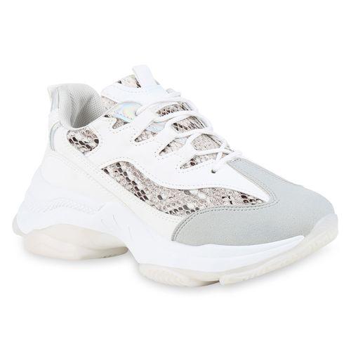 Sneaker Damen Sneaker Weiß Damen Weiß Plateau Plateau qXqRf
