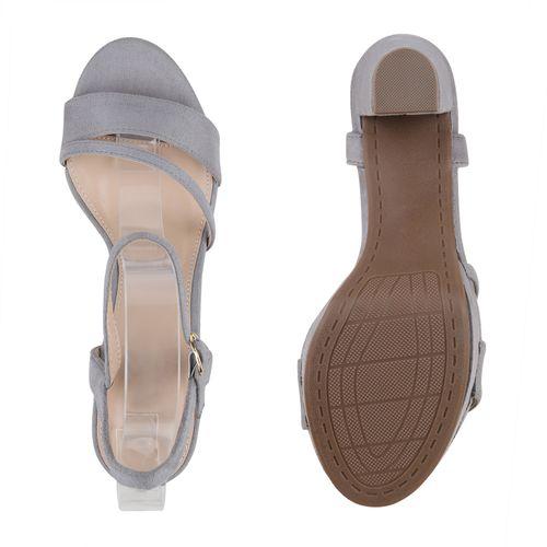 Damen Sandaletten Riemchensandaletten - Grau