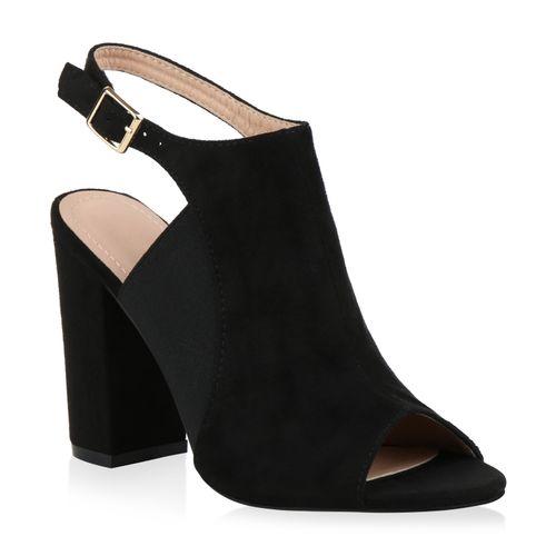 Damen Schwarz High Heels Sandaletten Sandaletten Damen XRqnrXt