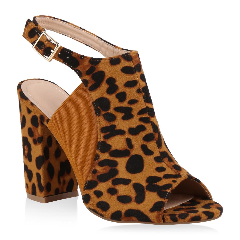 Highheels für Frauen - Damen Sandaletten High Heels Leopard  - Onlineshop Stiefelparadies